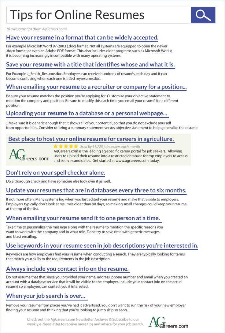 High Quality Infographic   Title: Tips For Online Resumes. Sub Title: 10 Awesome Tips  Online Resumes