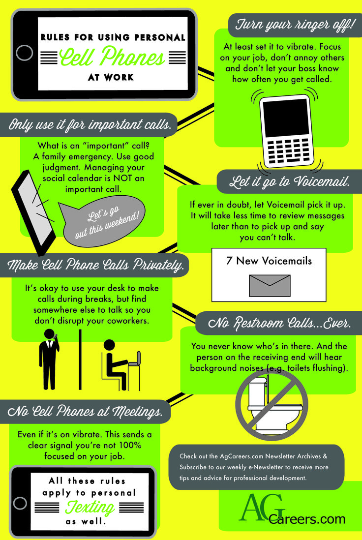 Rules for Using Personal Cell Phones at Work | Infographic ...