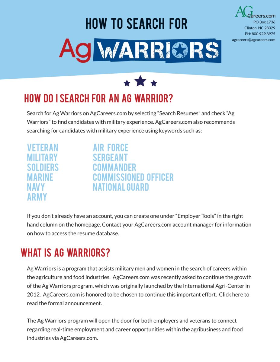 Ag Warriors Jobs For Veterans Agcareers Com