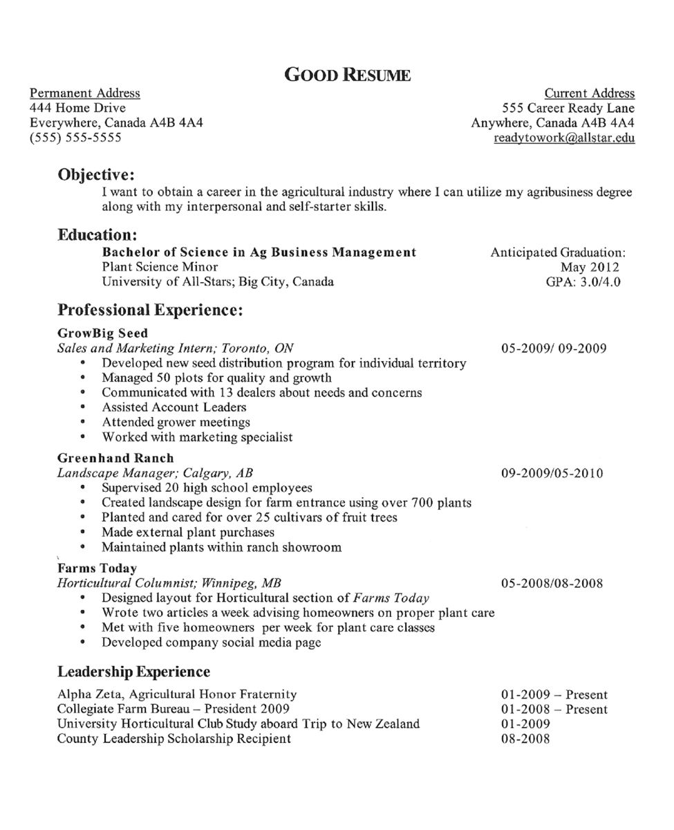 Resumes From Good To Great Agcareers Com