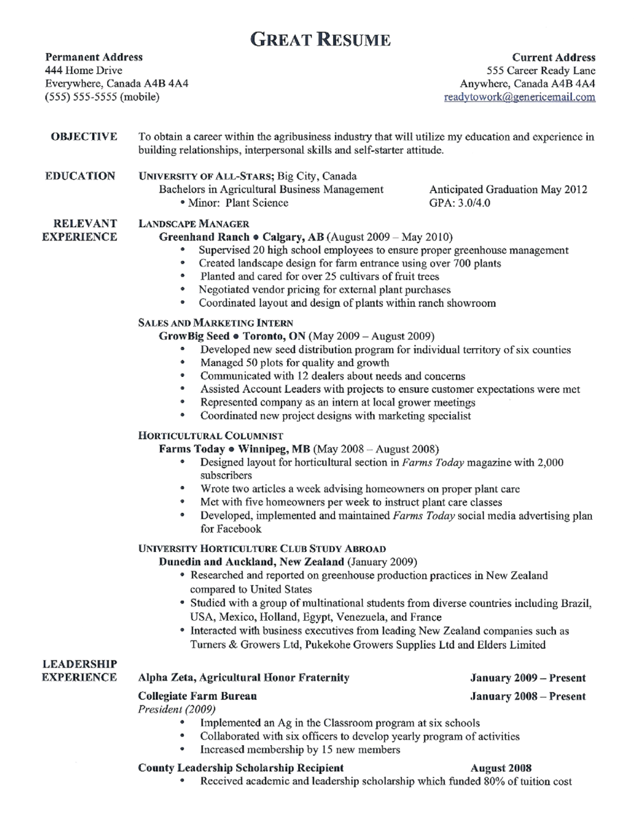 resumes  from good to great
